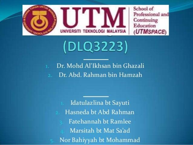 Dr. Mohd Al'Ikhsan bin Ghazali 2. Dr. Abd. Rahman bin Hamzah  1.  Idatulazlina bt Sayuti 2. Hasneda bt Abd Rahman 3. Fateh...