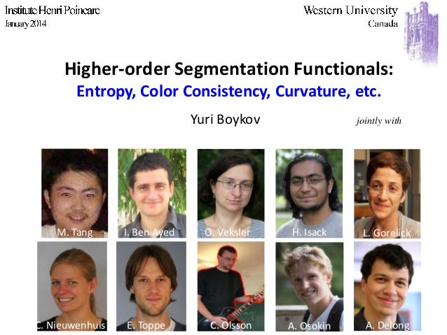 Higher-order Segmentation Functionals: Entropy, Color Consistency, Curvature, etc. Yuri Boykov  jointly with  Andrew Delon...