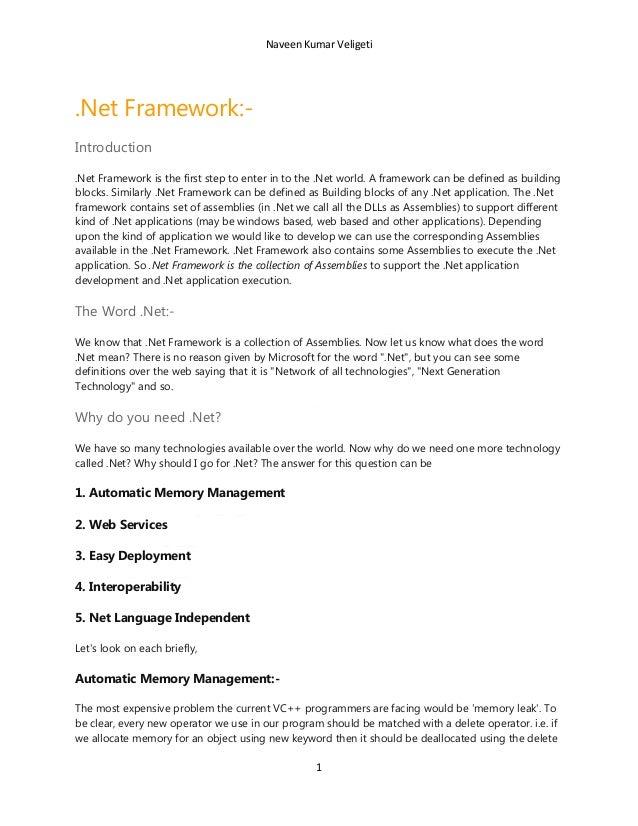.Net framework by naveen kumar veligeti