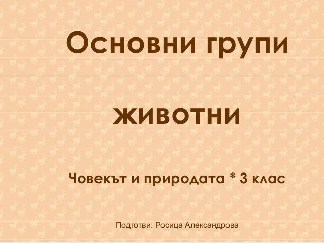 Основни групи животни Човекът и природата * 3 клас Подготви: Росица Александрова