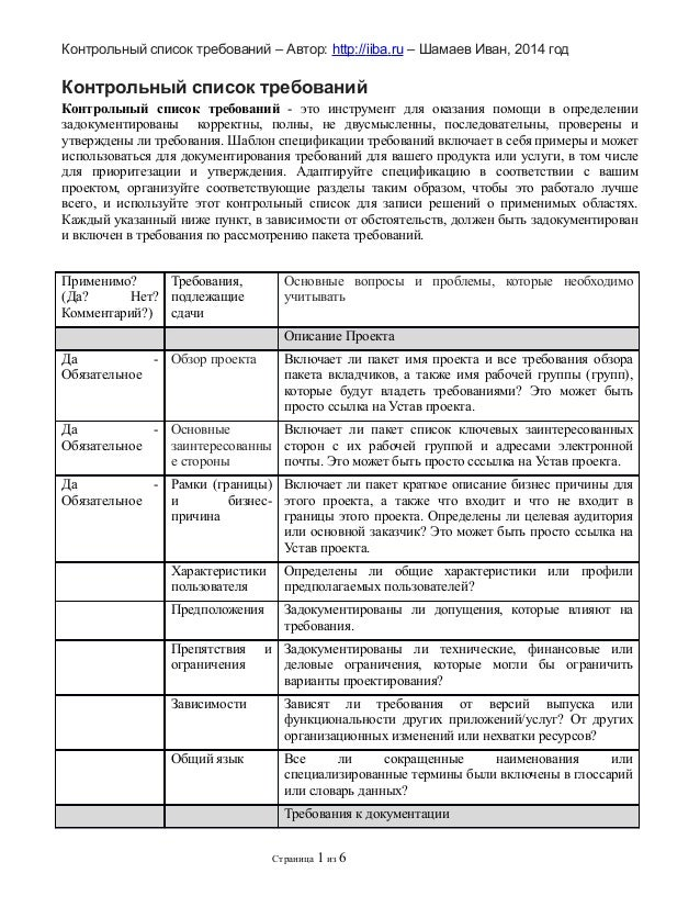 Контрольный список требований – Автор: http://iiba.ru – Шамаев Иван, 2014 год  Контрольный список требований Контрольный с...