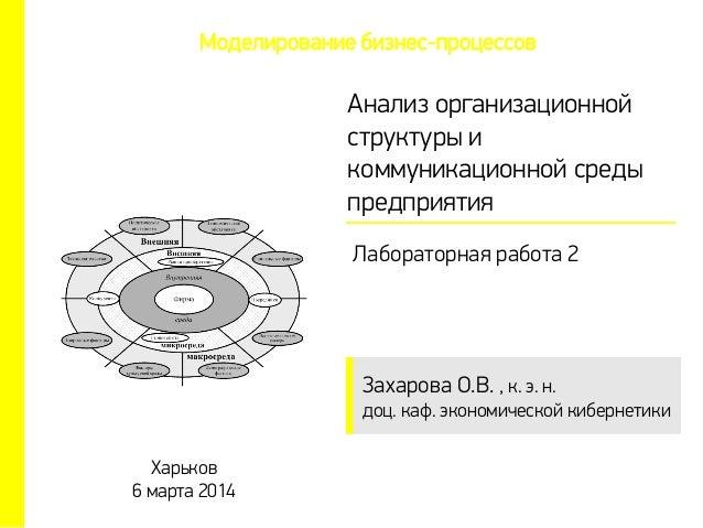 Захарова О.В. , к. э. н. доц. каф. экономической кибернетики Анализ организационной структуры и коммуникационной среды пре...