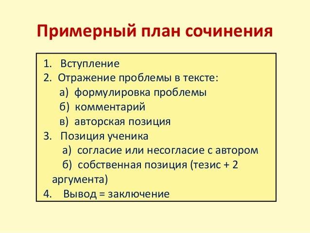 Примерный план сочинения 1.