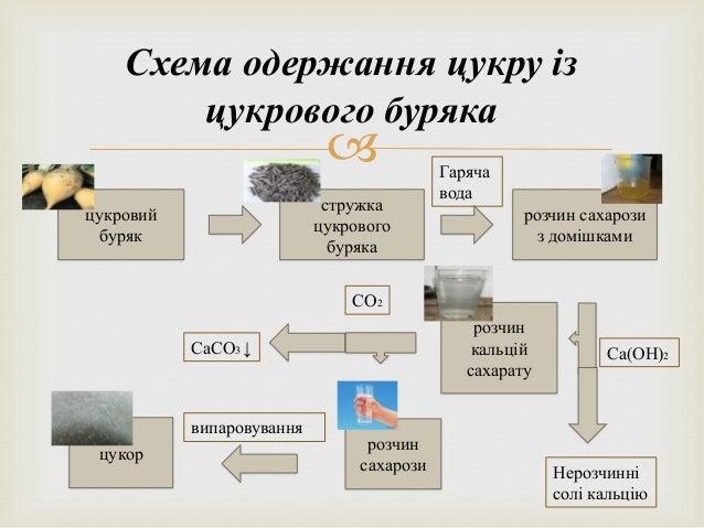 Схема одержання цукру із