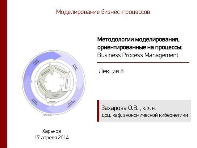 Захарова О.В. , к. э. н. доц. каф. экономической кибернетики Методологии моделирования, ориентированные на процессы: Busin...