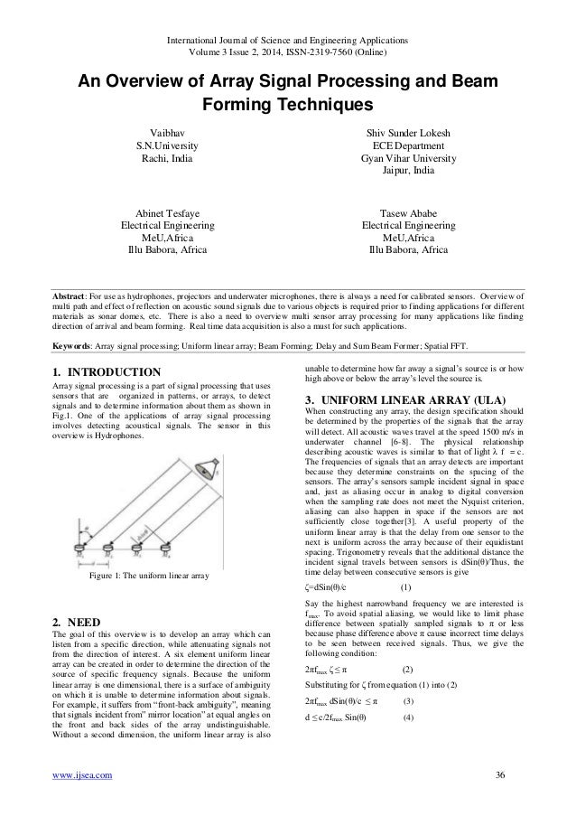 An Overview of Array Signal Processing and Beam Forming TechniquesAn Overview of Array Signal Processing and Beam Forming TechniquesAn Overview of Array Signal Processing and Beam Forming Techniques