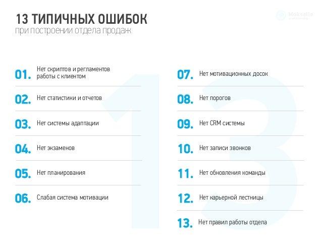 Схема построения работы отдела продаж