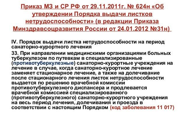 Приказ 624н от 29.06.11 минздравсоцразвития с изменениями 2018 года