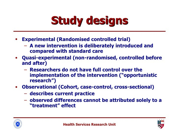 identify the difference between randomized evaluation designs and quasi experimental designs What is the difference between experimental and quasi-experimental research  (all non-randomized controlled designs) as has been mentioned, the term 'quasi-experiment' comes from psychology.