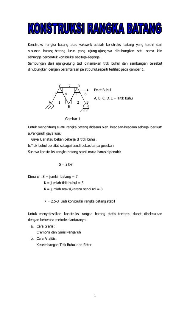 Konstruksi rangka batang atau vakwerk adalah konstruksi batang yang terdiri darisusunan batang-batang lurus yang ujung-uju...