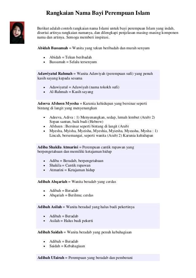 Nama bayi perempuan islamberikut adalah contoh rangkaian nama islami