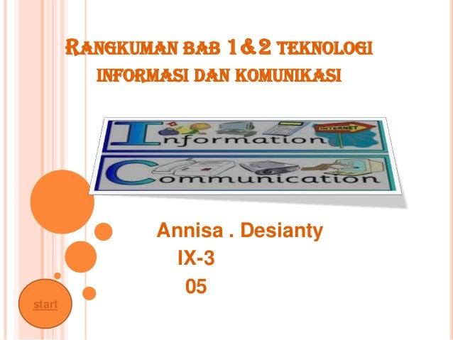 RANGKUMAN BAB 1&2 TEKNOLOGI          INFORMASI DAN KOMUNIKASI                Annisa . Desianty                  IX-3      ...