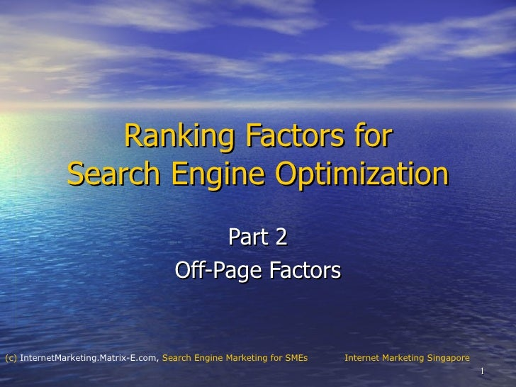 Google Page Rank Off-Page Factors, SEO Ranking Factors part 2
