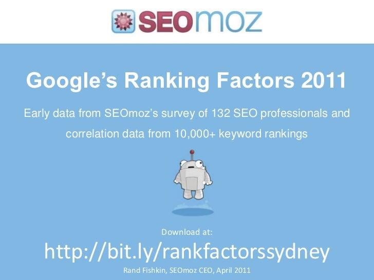 Ranking Factors Data 2011: SMX Elite Sydney