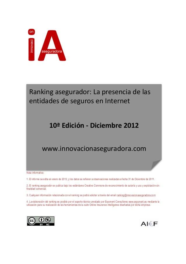 Ranking asegurador: La presencia de las        entidades de seguros en Internet    ...