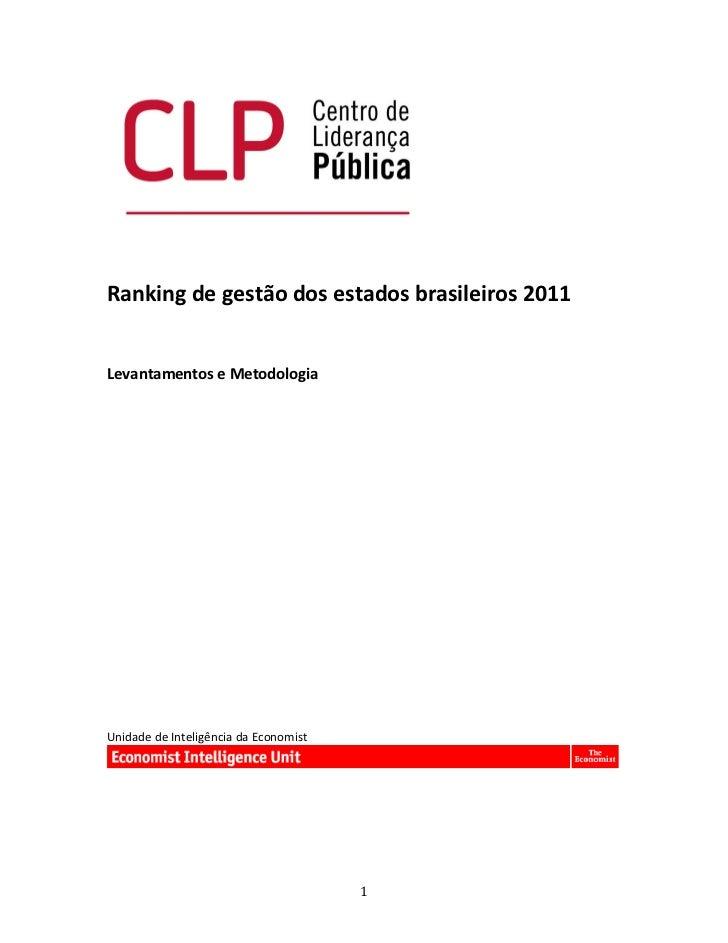 Ranking de gestão dos estados brasileiros 2011     Levantamentos e Metodologia    ...