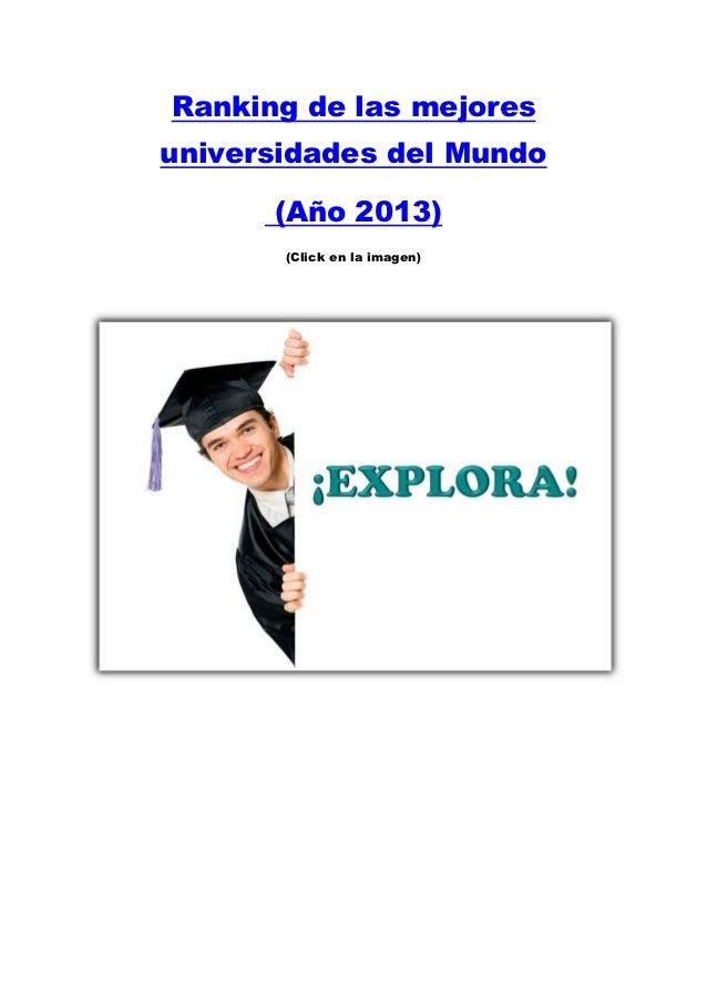 Ranking de las mejores universidades del mundo 2013