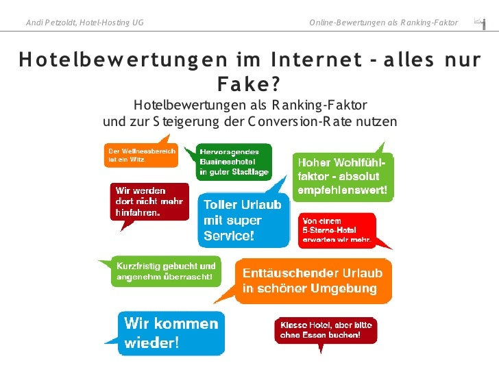 Andi P etzoldt, Hotel-Hosting UG                     O nline-B ewertungen als R anking-Faktor    H o telbew ertung en im I...