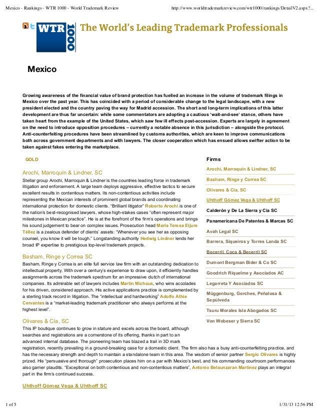 Mexico - Rankings - WTR 1000 - World Trademark Review                                  http://www.worldtrademarkreview.com...