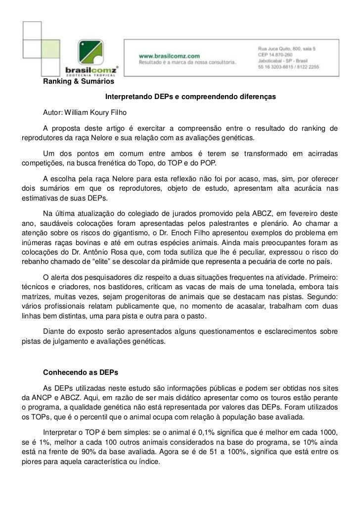 Ranking & Sumários                         Interpretando DEPs e compreendendo diferenças      Autor: William Koury Filho  ...