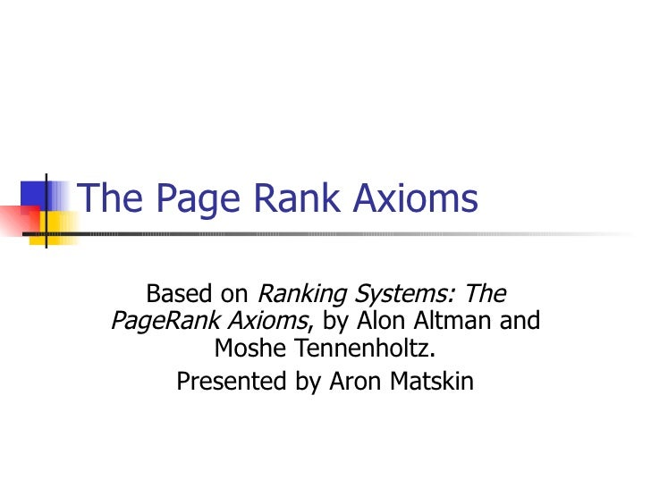 Ranking systems