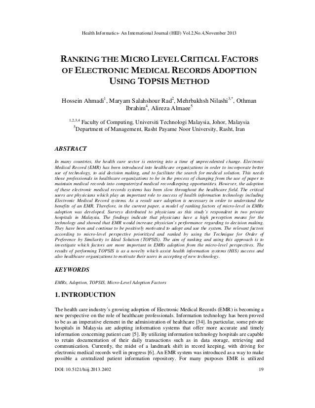 Health Informatics- An International Journal (HIIJ) Vol.2,No.4,November 2013  RANKING THE MICRO LEVEL CRITICAL FACTORS OF ...