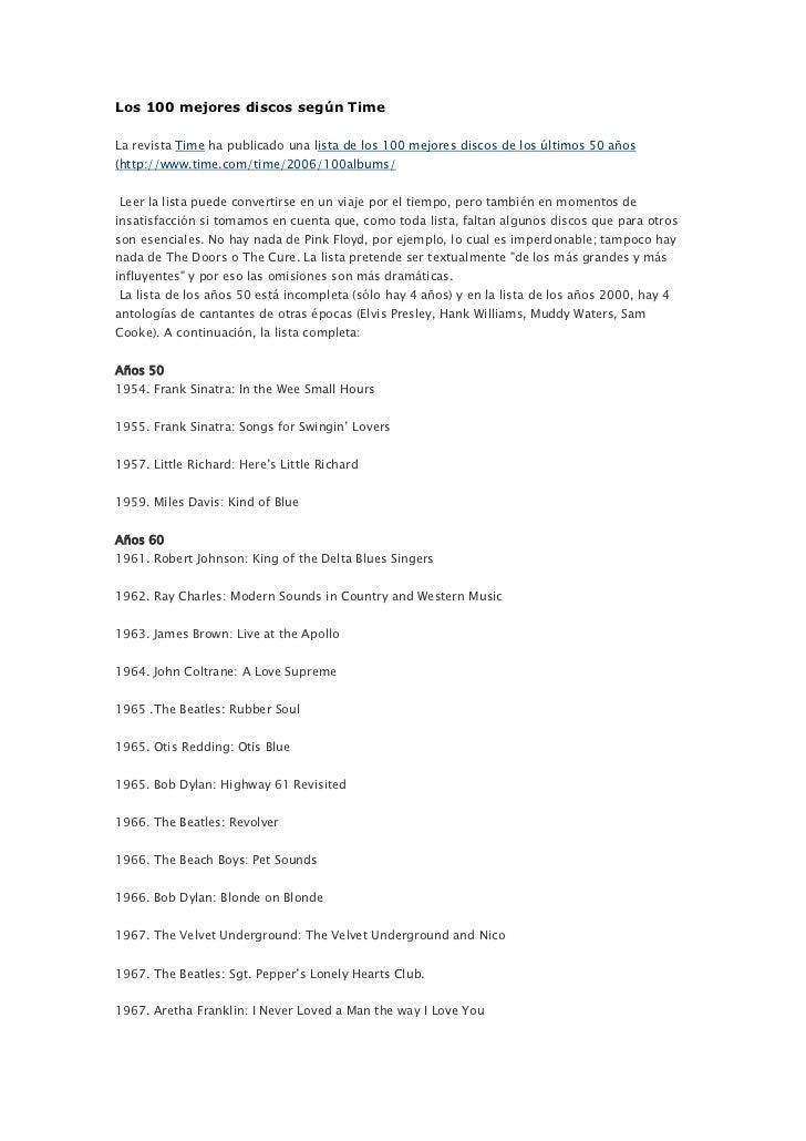 Los 100 mejores discos según Time<br />La revista Time ha publicado una lista de los 100 mejores discos de los últimos 50 ...