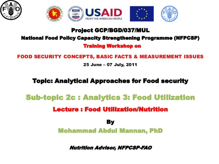 Project GCP/BGD/037/MUL National Food Policy Capacity Strengthening Programme (NFPCSP)                      Training Works...