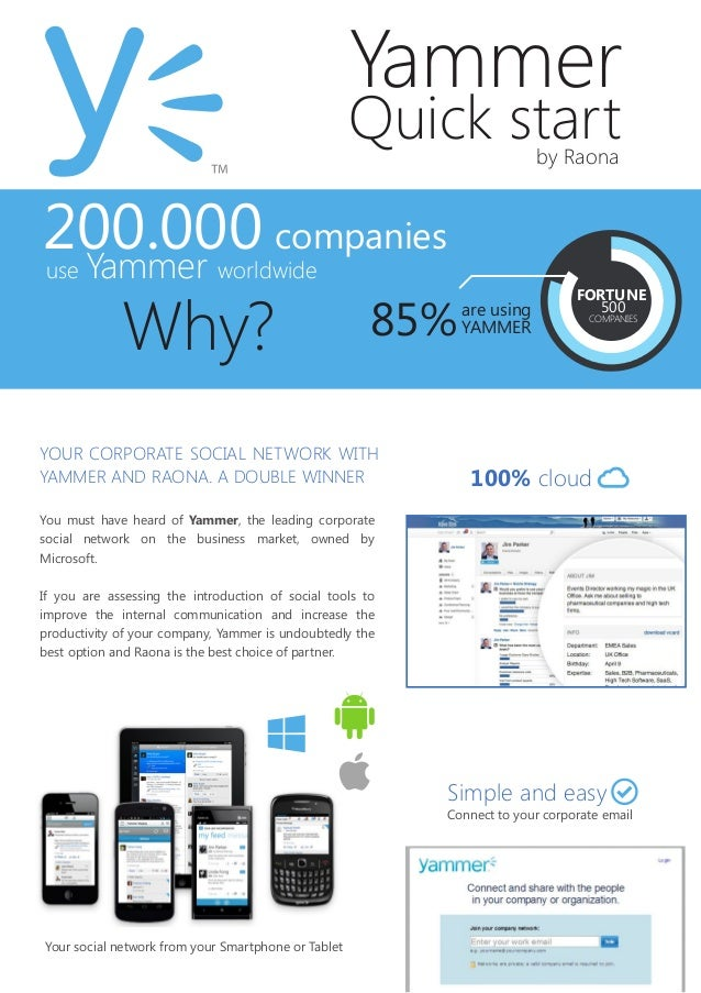 Yammer Quick startby Raona You must have heard of Yammer, the leading corporate social network on the business market, own...
