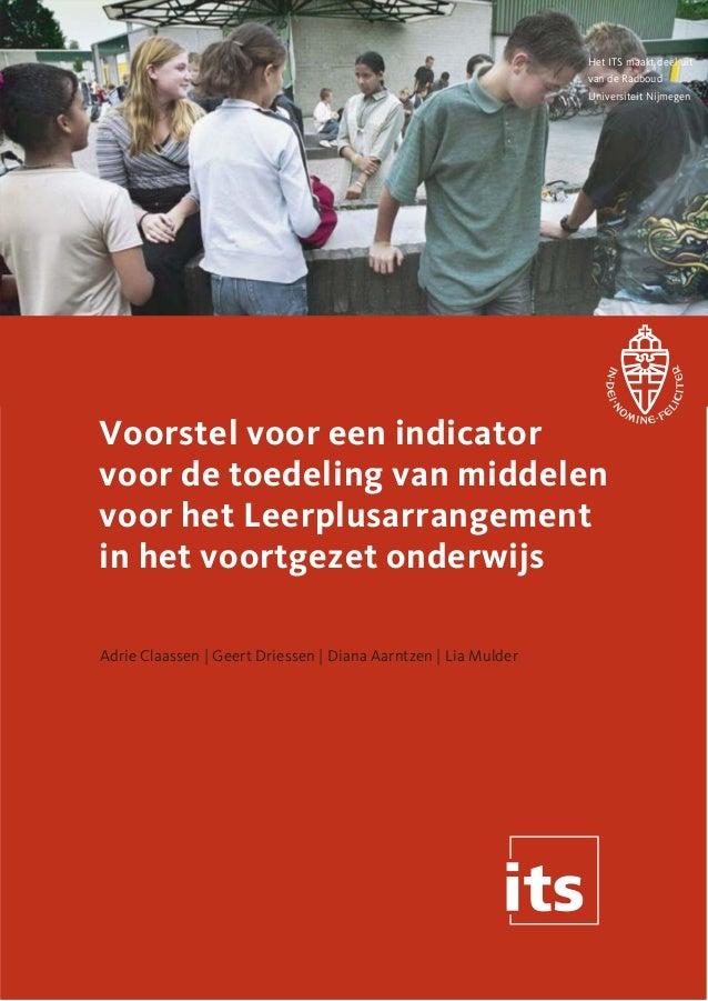 Het ITS maakt deel uit van de Radboud Universiteit Nijmegen  Voorstel voor een indicator voor de toedeling van middelen vo...