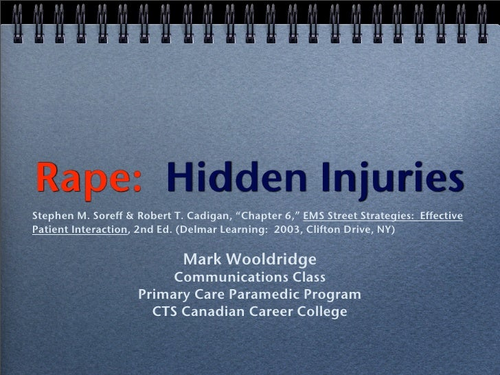 """Rape: Hidden Injuries Stephen M. Soreff & Robert T. Cadigan, """"Chapter 6,"""" EMS Street Strategies: Effective Patient Interac..."""