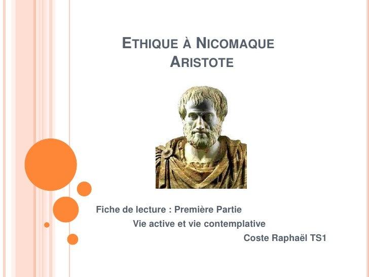 Raphael C.Ethique à Nicomaque I