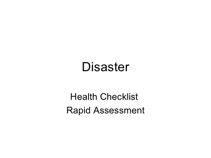 Disaster Health ChecklistRapid Assessment