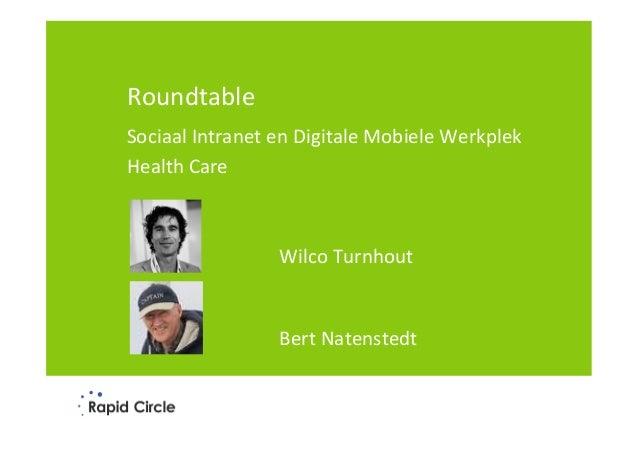 Rapid Circle Roundtable - Mobiele Sociale Werkplek en Sociaal Intranet voor Zorg - Microsoft Office 365 - voor publicatie, zonder schermen van klanten