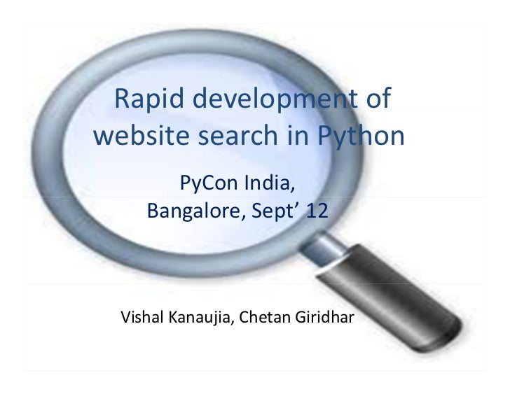 PyCon India 2012: Rapid development of website search in python