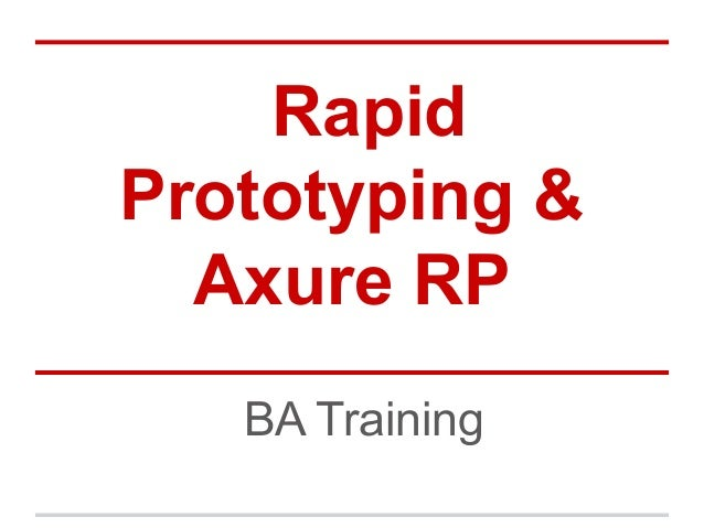 Rapid Prototyping & Axure RP BA Training