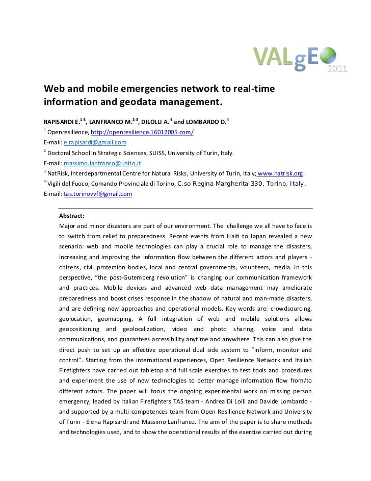 Rapisardi, Lanfranco, Dilolli, Lombardo (2011) web and mobile emergencies network