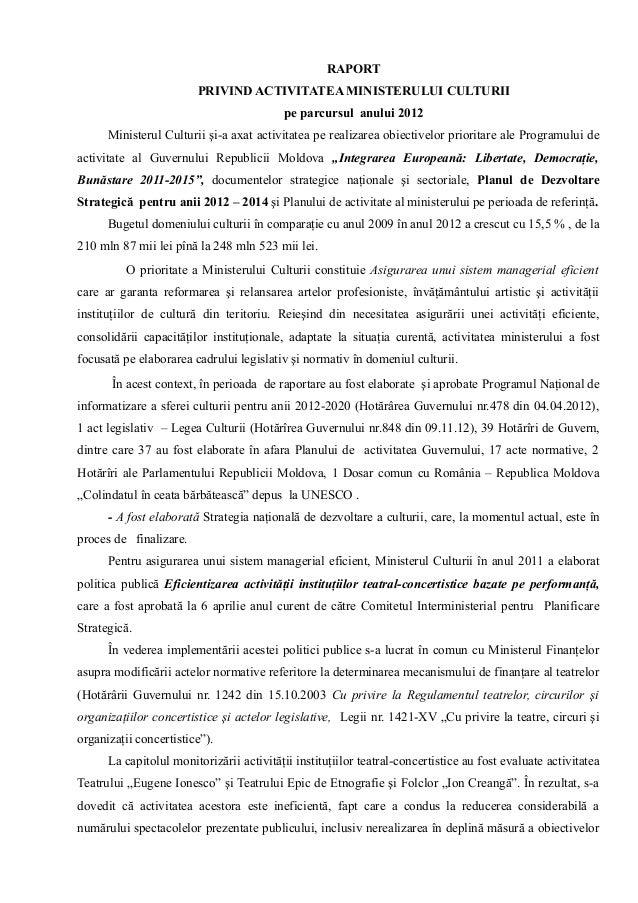 Raport 2012 activitatea ministerului culturii