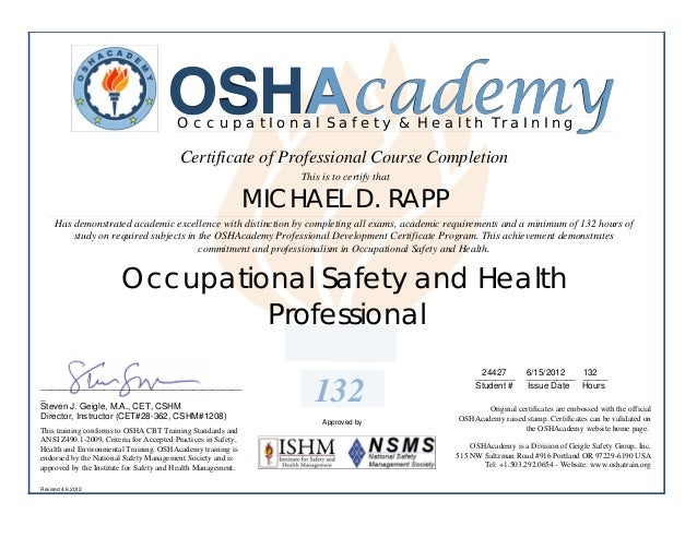 OSHAcademy                                         OccupatIonal Safety & Health TraInIng                                  ...