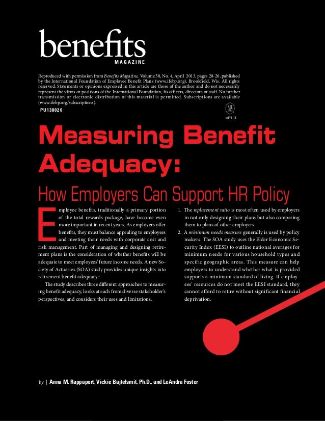 MAGAZINE Reproduced with permission from Benefits Magazine, Volume 50, No. 4, April 2013, pages 20-26, published by the In...