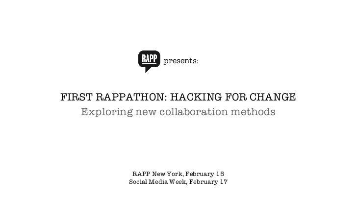 presents: FIRST RAPPATHON: HACKING FOR CHANGE Exploring new collaboration methods RAPP New York, February 15 Social Media ...