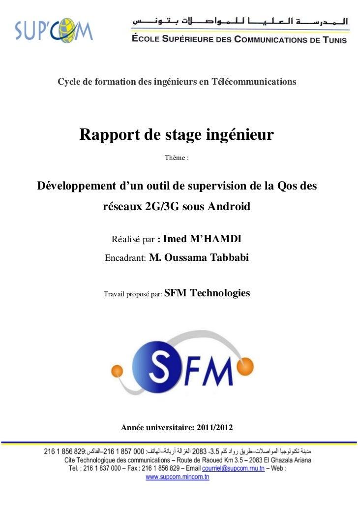 Cycle de formation des ingénieurs en Télécommunications        Rapport de stage ingénieur                              Thè...