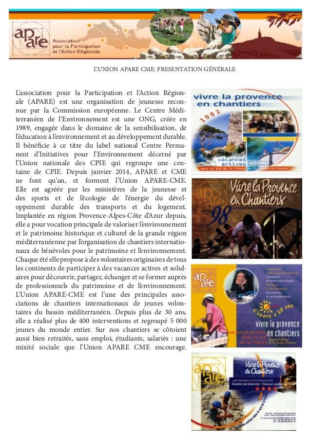L'association pour la Participation et l'Action Régionale (APARE) est une organisation de jeunesse reconnue par la Commiss...