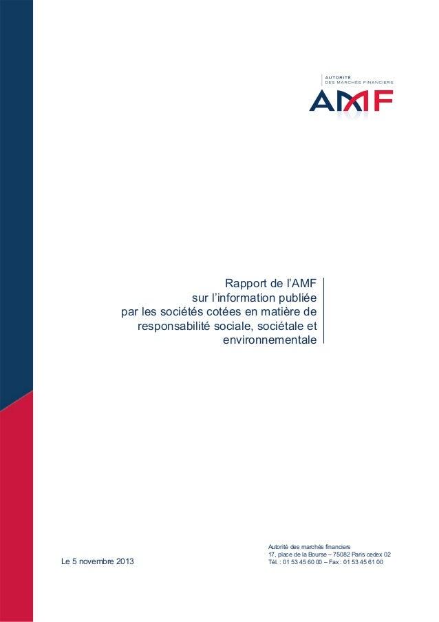 Rapport de l'AMF sur l'information publiée par les sociétés cotées en matière de responsabilité sociale, sociétale et envi...