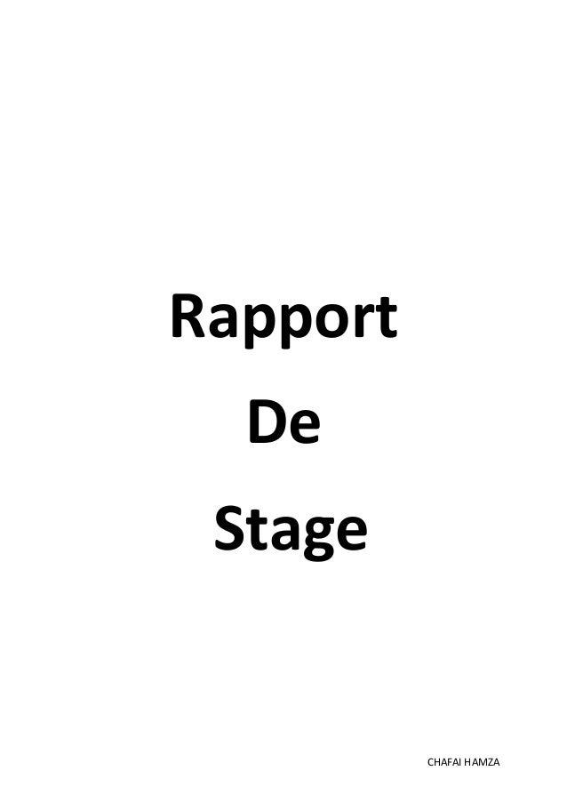 Rapport  De  Stage  CHAFAI HAMZA