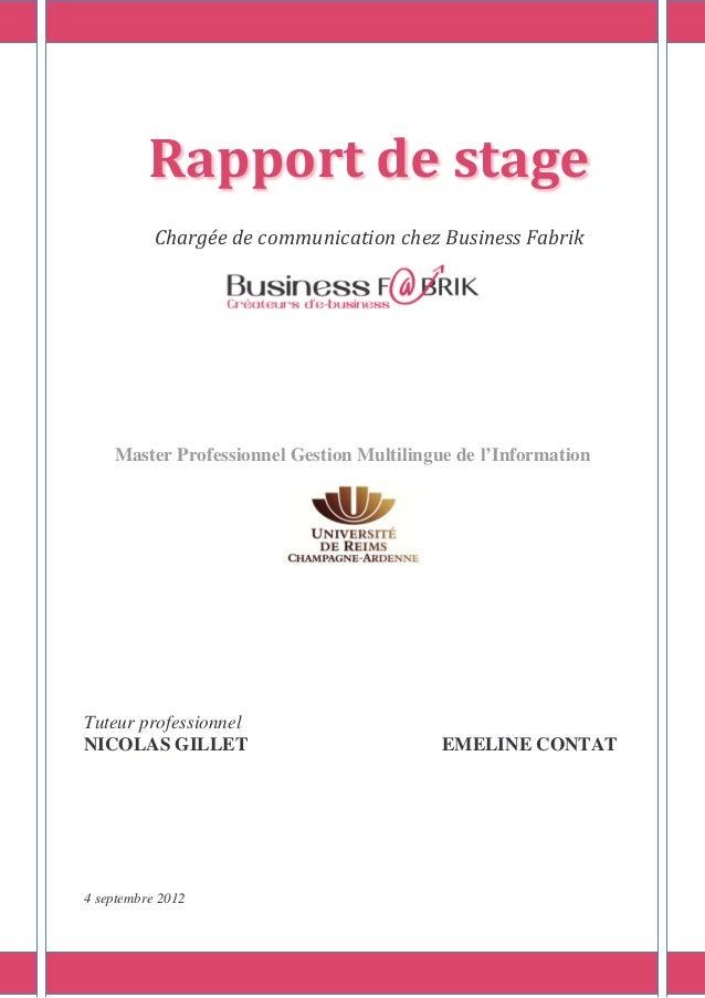 Rapport de stage Chargée de communication chez Business Fabrik Master Professionnel Gestion Multilingue de l'Information T...