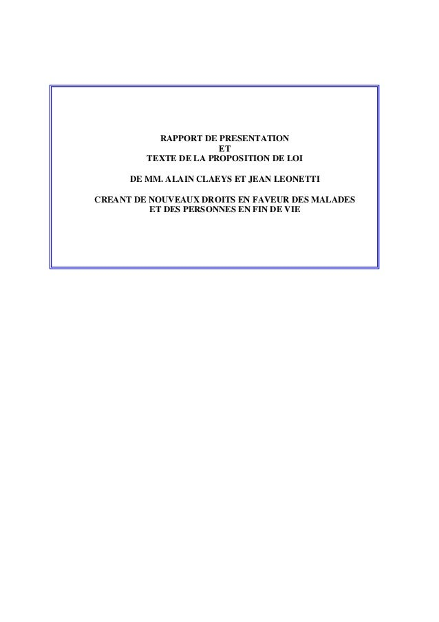 RAPPORT DE PRESENTATION ET TEXTE DE LA PROPOSITION DE LOI DE MM. ALAIN CLAEYS ET JEAN LEONETTI CREANT DE NOUVEAUX DROITS E...