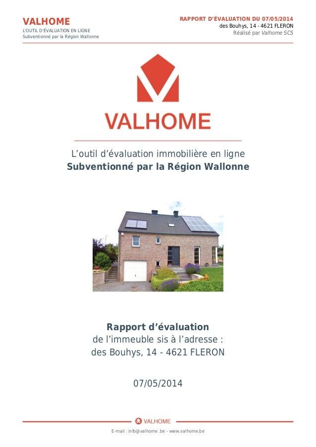 Exemple d 39 un rapport d 39 valuation immobili re par valhome - Type de vente immobiliere ...