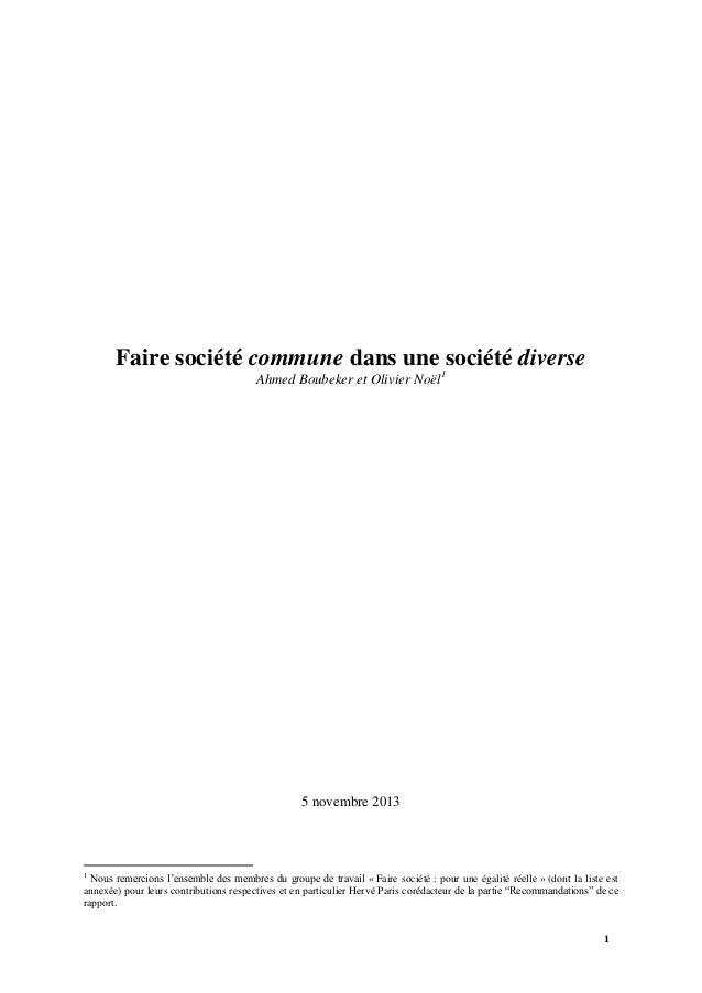 Faire société commune dans une 1société diverse Ahmed Boubeker et Olivier Noël  5 novembre 2013  1  Nous remercions l'ense...