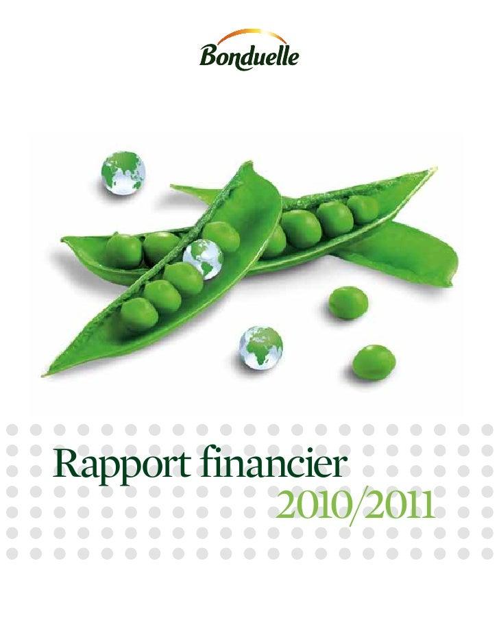 Rapport financier             2010/2011